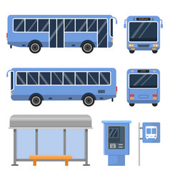 Bus stop and various views of vector