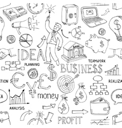 Business doodles seamless pattern vector