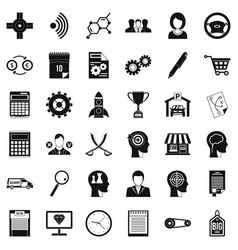 Business way icons set simple style vector