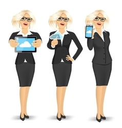 businesswoman using cloud computing vector image
