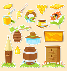 cartoon stickers of beekeeping vector image