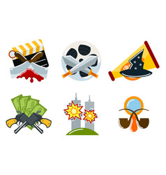 Cinema genre icons set cinematography flat vector