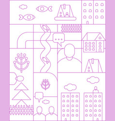 city map linear pattern seamless cartoon town vector image