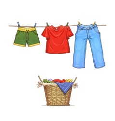 Clothes on rope and basket vector