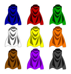 Collection colorful cloaks isolated on white vector