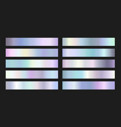collection iridescent silver foil gradients vector image