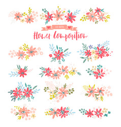 collection of flower dividers vector image