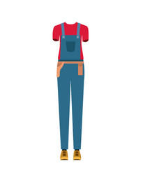 Colorful silhouette with female uniform of worker vector