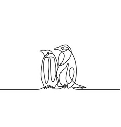 continuous line drawing two penguins are standing vector image