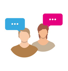 couple avatar icons with dialog speech bubbles vector image