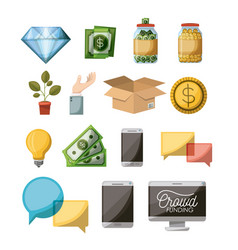 crowdfunding elements set icons in white vector image