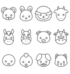 Cute cartoon farm animal line icon set vector