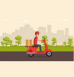 delivery service on scooter vector image