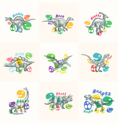 Dinosaurs abstract signs symbols or logo vector