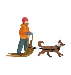 Dog with sled iconcartoon icon vector
