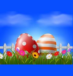 easter eggs in garden vector image
