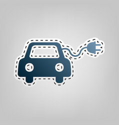 eco electric car sign blue icon with vector image