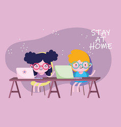 Education online stay at home kids students with vector