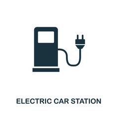 electric car station icon monochrome style design vector image