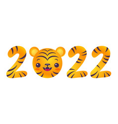 emblem for new year of 2022 with head of a tiger vector image