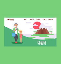 family travel banner web design vector image