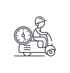 fast courier line icon concept fast courier vector image