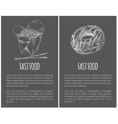 Fast food donut and noodles vector