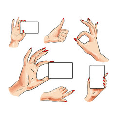 Female hand with card and hand gesture icon vector