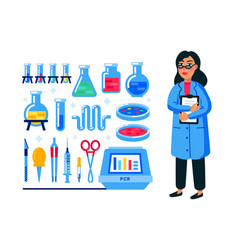 Female scientist and laboratory equipment set vector