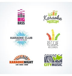 Fifth set of dj music reggae bass karaoke vector