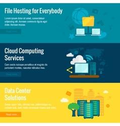 File hosting flat banners set vector