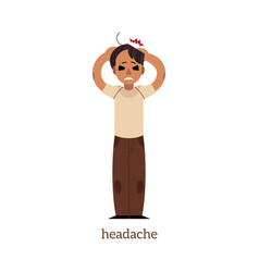 flat man holding head with headache vector image