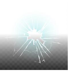 glass broken because bullet shot transparent vector image