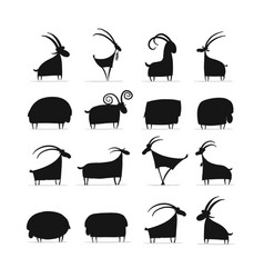 Goats and rams collection for your design vector