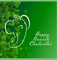 Green eco happy ganesh chaturthi festival vector