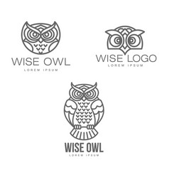 Hand drawn stylized owl bird icon set vector
