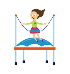 happy cartoon girl jumping on bungee trampoline vector image