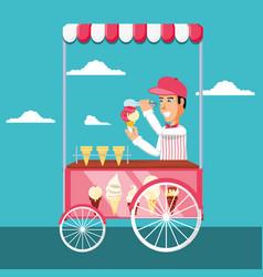 Ice cream salesman in cart kiosk character vector