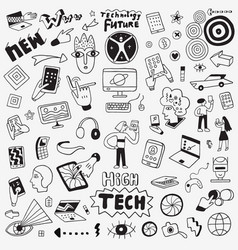 Information technology doodle set design vector