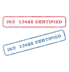 Iso 13485 certified textile stamps vector