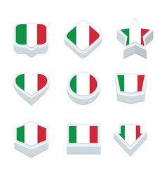 Italy flags icons and button set nine styles vector