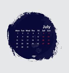July 2019 calendar templatestarts from monday vector