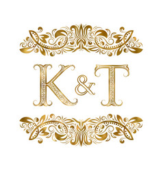K and t vintage initials logo symbol letters vector