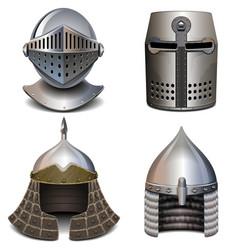 Knight helmet set vector