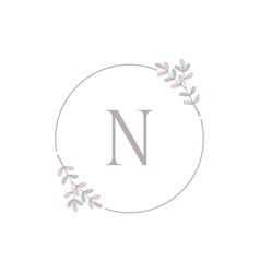 Letter n logo design with leaf eps 10 vector