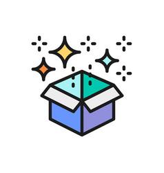 Magic box with confetti gift flat color line icon vector