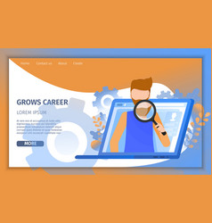 man character search social media resume profile vector image