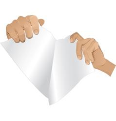Man hands tear paper version 2 vector
