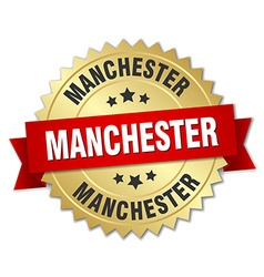 Manchester round golden badge with red ribbon vector