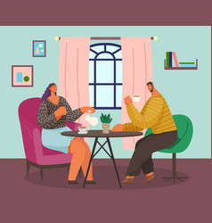married couple at home at table family tea vector image